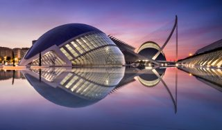 Valencia. Reflections at sunrise in city of arts and science